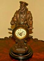 Antique RARE Helmsman Ship Wheel Bronze Boat Sea Captain Statue Clock Sculpture
