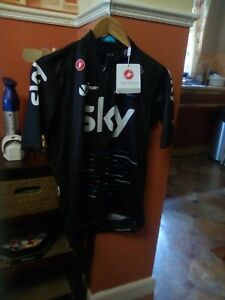 Castrelli Team Sky Podio Cycle Jersey Full Zip Size XL