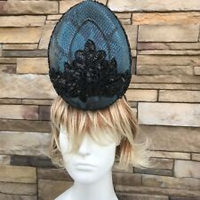 Blue leather Fascinator Headband. Handmade in NY. Kentucky Derby Style. One size