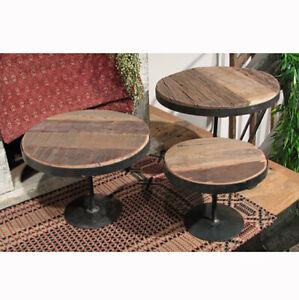 "Reclaimed Wood & Metal Risers Pedestal Stands Set of 3 Rustic Primitive 6""- 9"" H"