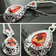 Collar de cristal de oro de fuego Volcán Plata Navidad Regalos Para Ella Mujeres Niñas GF J1