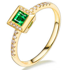 Women Jewelry Solid 18kt Yellow Gold Natural Diamonds Engagement Emerald Ring