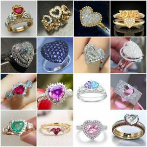 925 Silver Rings Elegant Heart Jewelry White Sapphire Women Wedding Ring Sz 6-10