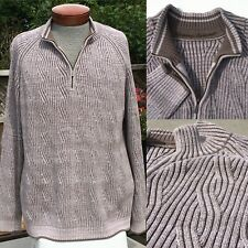 Tommy Bahama Mens Size XXL 1/4 Zip Cable Knit Sweater Brown Collar Raglan Sleeve