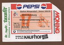 Orig.Ticket    1.Bundesliga  93/94   1.FC KÖLN - MSV DUISBURG  !!  SELTEN