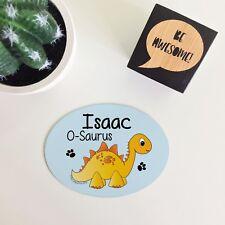Personalised Yellow Stegosaurus Dinosaur Kids Bedroom Metal Door Plaque