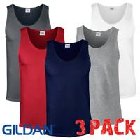 3 x  Gildan MEN'S TANK TOP GYM VEST SPORTS SUMMER VESTS COTTON SHIRTS 3 PACK NEW