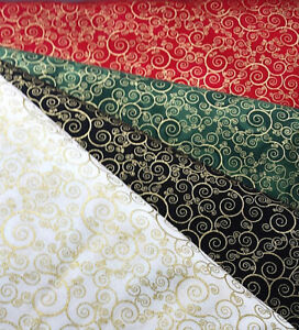 TIMELESS TREASURES QUILTING FABRIC RED BLACK IVORY GREEN GOLD CHRISTMAS SWIRLS