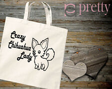 CRAZY CHIHUAHUA LADY NATURAL TOTE BAG CANVAS GIFT KEEPSAKE NOVELTY JOKE DOG