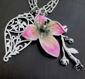 """NWT LUCKY BRAND Floral Pink Orchid Flower Pendent  24"""" Double Long Necklace NEW"""