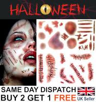 Halloween Zombie Scars Tattoos Fake Blood Bruises Wounds Costume Make-Up Kit UK