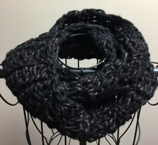 Handmade Crochet Infinity Scarf Black With Red Sparkle Thick Acrylic Yarn