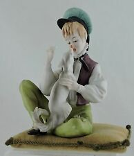 ANTIQUE PIN NEEDLE CUSHION W/ PORCELAIN BOY & DOG BISQUE FIGURINE ATTACHED