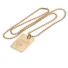 Arsenal Fc Gold Plated Dog Tag & Chain Football Team Jewellery Gift Present New