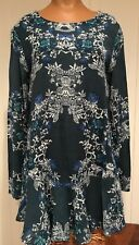 Free People Dusty Teal Floral L/S Dress Great Back Size S