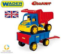NEW GIANT TRUCK WITH TRAILER 110CM LONG TROLLEY KIDS Wader 65100 SAND HIGH Q