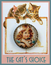 LITTLE GIRL HOLDING TABBY CAT 30mm GLASS DOME BUTTON Brass Filigree VINTAGE ART
