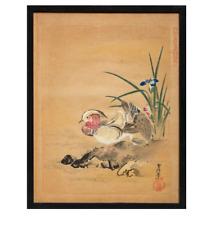 Kanō Tsunenobu (d'après) - Deux oiseaux sur une berge fleurie- Estampe japonaise