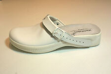 White Leather Men Clog Shoes Closed Toe Hospital Vet BNIB UK Size 11 #99