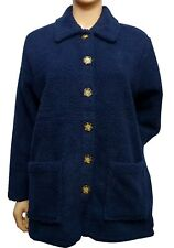 JULIPA Womens Navy Sherpa Teddy Fleece Shirt Buttoned Cardigan Jacket UK 10