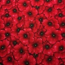 Poppy Packed Anzac Day Flower Floral Sewing Quilting Fabric Cotton FQ