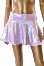 """EXTRA SMALL 10"""" Pastel Lilac Holographic Circle Cut Mini Skirt Ready To Ship!"""