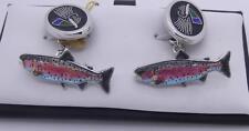 HALLMARKED SILVER AND ENAMEL FLY FISHING CUFFLINKS