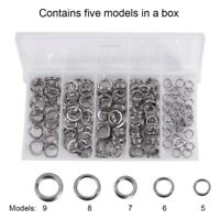 200Pcs Heavy Duty Stainless Steel Fishing Split Rings Lure Solid Loop Bait  Kit