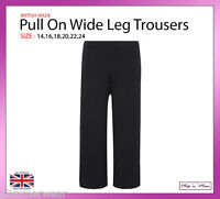 New Ladies Pull On Plain Wide Leg Trousers Plus Sizes 14-24 Casual Black Navy