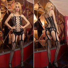 Women Sexy Bodystocking Lingerie Dress Garters Mesh Underwear Babydoll Size 8-14