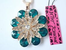 Betsey Johnson Rhinestone Green Flowers Pendant Necklace #N11