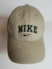 Nike Spellout Embroidered Hat Baseball Cap Swoosh Strapback Biege Cotton
