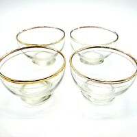 Clear Glass Sherbet or Dessert Bowls Cups or Glasses with Gold Rims Set of 4
