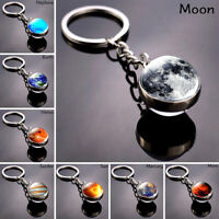 Planet System Key Rings Space Nebula Keychain Double-sided Glass Ball Keychain