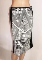 Vivid Brand Black White Printed Insert Front Midi Skirt Size 8 BNWT #SW39