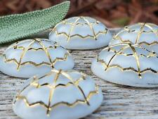 Vintage Moonglow White & Gold Oval Glass Dome Cabs Cabochons Mosaics Art Jewelry
