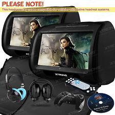 "2X 9"" Black Car Headrest Monitor DVD Player IR Kids Children Headphones US Stock"