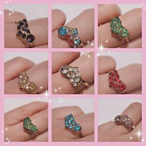 Adjustable Heart Women Ladies Girls Resizable Diamante Finger Rings Party Gift