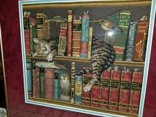 Completed Framed Cross Stitch Wysocki Frederick The Literate Cat On Book Shelf