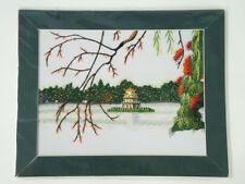 Vietnam Asian Handmade Embroidery Picture Lake View Blossom