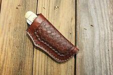 """Custom Leather Knife Sheath for 4"""" Trapper T2 (E)"""