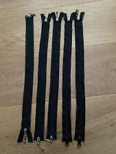Bulk Lot Of 5 X 45cm Black Cotton Fashion Dress Two Way Zip / Zipper