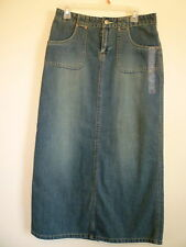 NEW Old Navy womens S 4 5 6 blue jean denim modest long aline straight skirt