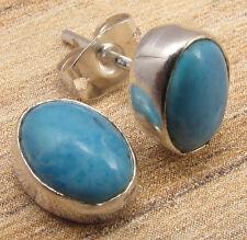 "SIMPLE STUD Everyday Wear Earrings  Simulated LARIMAR Silver Plated 3/8"""
