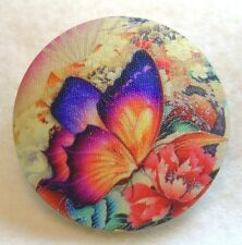 Colorful Butterfly Hand Printed Fabric Covered Button 1 & 1/2 inch B47