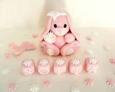 Christening Birthday bunny name blocks Edible Handmade cake decorations topper