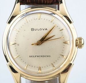 Bulova Vintage 14k Yellow Gold Men's Self-Winding Watch w/ Brown Leather Strap