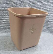 1960's Lustro Ware Vintage Beige Plastic Square Waste Basket Trash Can FREE S/H