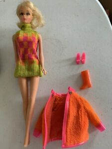Vintage 1967 Mattel Walking Jamie Doll With Original Dress Outfit, Jacket, Shoes