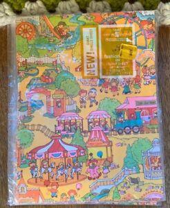 Vintage GIFT WRAP Children Carnival Fair Amusement Park 1970s AMERICAN GREETING